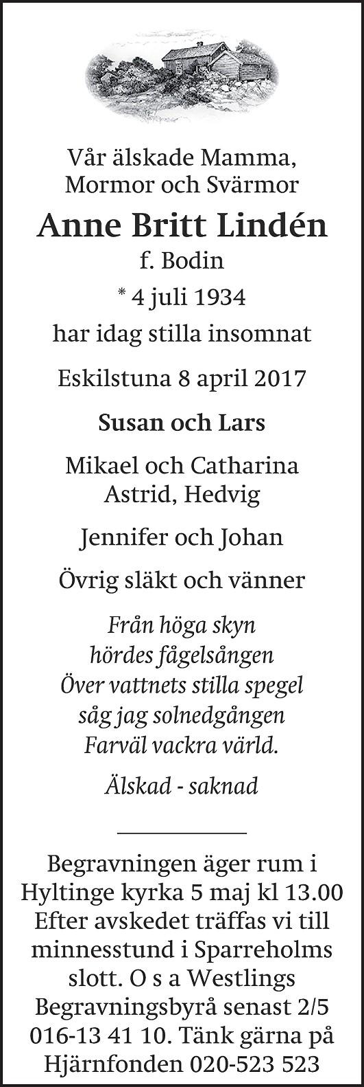 Dödsannons Ann-Britt Lindén, Westlings Begravningsbyrå
