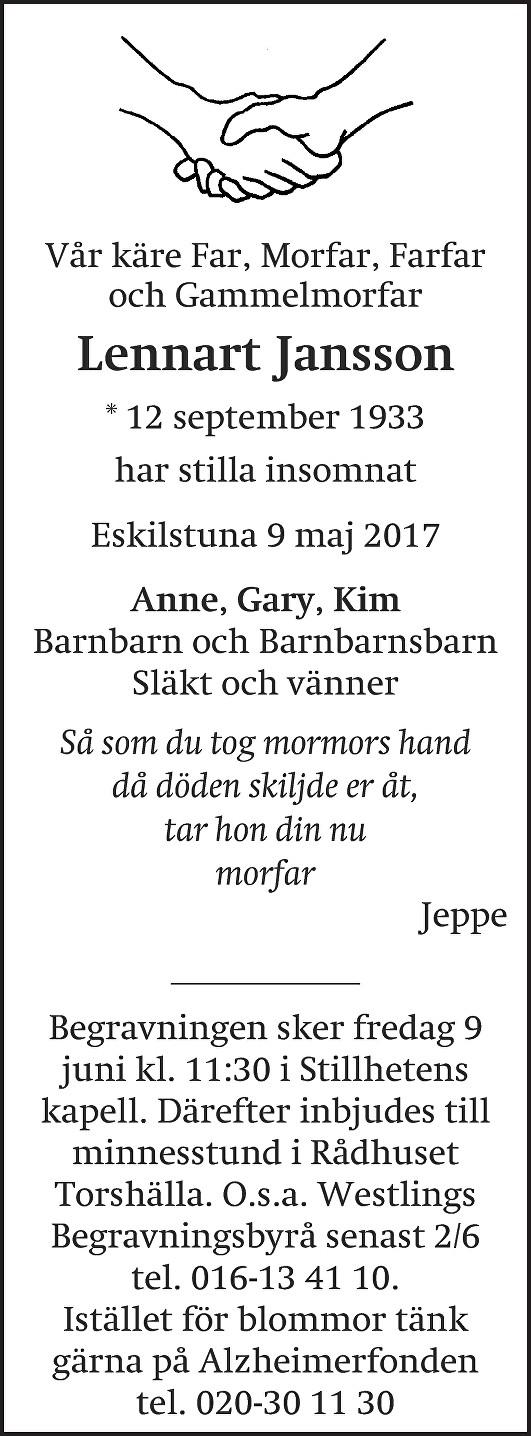 Dödsannons Lennart Jansson, Westlings Begravningsbyrå