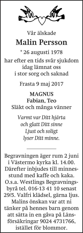 Dödsannons Malin Persson, Westlings Begravningsbyrå