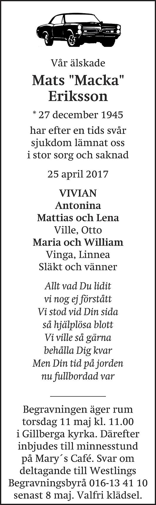 Dödsannons Mats Macka Eriksson, Westlings Begravningsbyrå